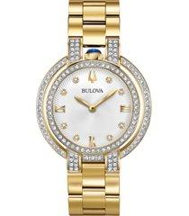 bulova women's rubiyat diamond (1 ct. t.w.) gold-tone stainless steel bracelet watch 35mm