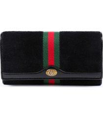 gucci ophidia wallet on chain black suede web stripe gg bag black/multicolor sz: n