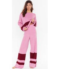 womens off-the-shoulder sweater and matching wide-leg lounge set - pink