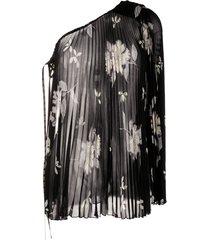 etro one-shoulder pleated blouse - black
