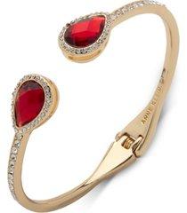 anne klein gold-tone stone & crystal hinged cuff bracelet