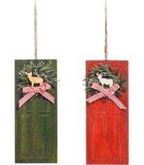 enfeite natal decorativo porta de madeira com guirlanda 20cm