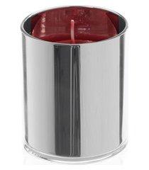 porta vela em vidro henan cilíndrica 14cm transparente e prata