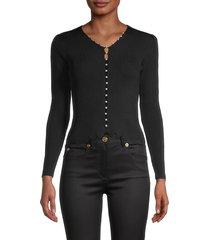 avantlook women's faux-pearl buttoned top - black - size m