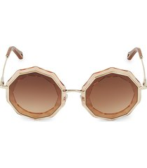 chloé women's caite 52mm geometric sunglasses - rose gold