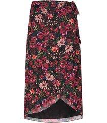 midi-rok met bloemenprint zwaan  zwart