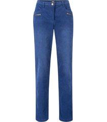 pantaloni di velluto con cerniere e cinta comoda straight (blu) - bpc bonprix collection