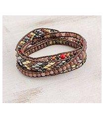 unakite and glass beaded wrap bracelet, 'atitlan beauty' (guatemala)