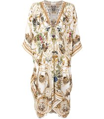 camilla v-neck hardware kaftan dress - multicolour