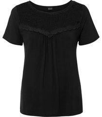 bellissima maglia con inserto di pizzo e leggera arricciatura. (nero) - bodyflirt