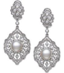 belle de mer cultured freshwater pearl (9-10mm) & cubic zirconia drop earrings in sterling silver, created for macy's