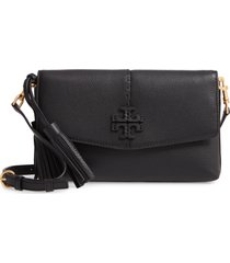 tory burch mcgraw leather crossbody bag - black