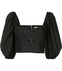 bec + bridge colette cropped top - black