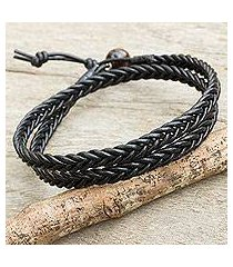 men's tiger's eye and leather wrap bracelet, 'double ebony' (thailand)