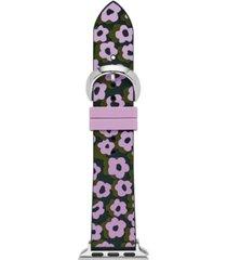 kate spade new york women's interchangeable green & purple leopard floral silicone apple watch strap 38mm/40mm