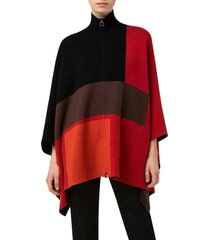 akris intarsia colorblock reversible cashmere cape in cadmium red/marsala/brown at nordstrom