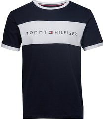 cn ss tee logo flag t-shirts short-sleeved blå tommy hilfiger