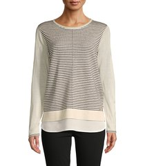 calvin klein women's stripe front twofer sweater - vanilla - size l