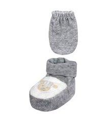 conjunto luva e sapatinho recém nascido carneirinho cinza everly- 2 peças