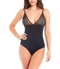 icollection women's elegant embroidered overlay, day and night bodysuit, online only