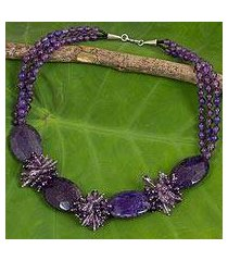 amethyst and quartz beaded necklace, 'splendid in purple' (thailand)