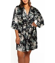 plus size bella floral day and night robe with sleeves
