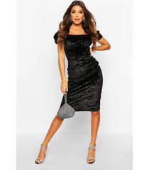 off the shoulder puff sleeve velvet midi dress, black