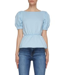 'marie' back tie detail open back puff sleeves top