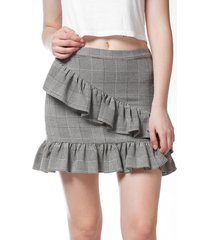french bazaar plaid ruffle mini bodycon skirt