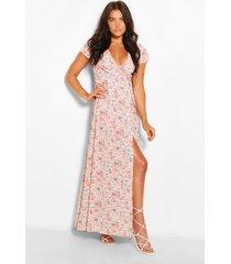 maxi bloementprint jurk met laag uitgesneden decolleté en knopen, blush