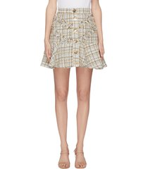 'for your love' button tweed mini skirt