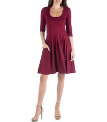 24seven comfort apparel three quarter sleeve fit and flare mini dress