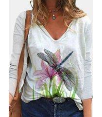camicetta da donna con scollo a v manica lunga stampa fiore libellula