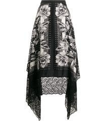 antonio marras floral print silk skirt - black