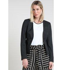blazer feminino listrado com bolsos preto