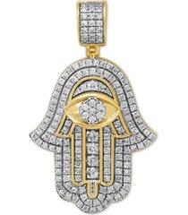 diamond hamsa hand pendant (1-1/10 ct. t.w.) in sterling silver & 14k gold-plate