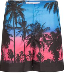 orlebar brown bulldog palm print swim shorts - blue