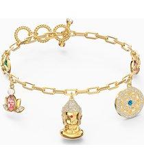braccialetto swarovski symbolic buddha, multicolore chiaro, placcato color oro