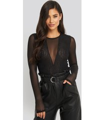 na-kd party lace mesh sleeve body - black
