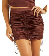 guess cheyenne ruched mini skirt