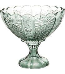 centro de mesa cristal com pé princess verde 22x19cm