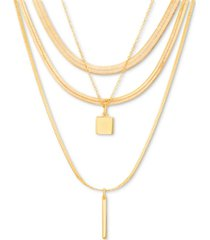 "steve madden gold-tone layered pendant necklace, 14"" + 3"" extender"