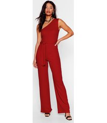 womens do no arm one shoulder belted jumpsuit - red