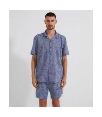 pijama americano com botões | viko | azul | p