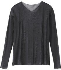 licht transparent shirt met lange mouwen uit bio-zijde met v-hals, zwart 44
