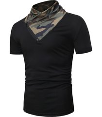 short sleeves camo panel tee with zipper