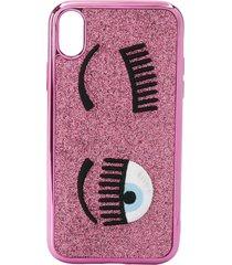 chiara ferragni flirting embroidered iphone xr case - pink