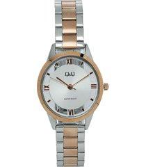reloj q&q qb69j407y bicolor femenino