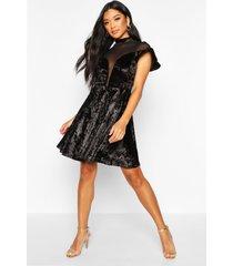 crushed velvet mesh inster skater dress, black