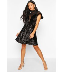 crushed velvet mesh inster skater dress, black